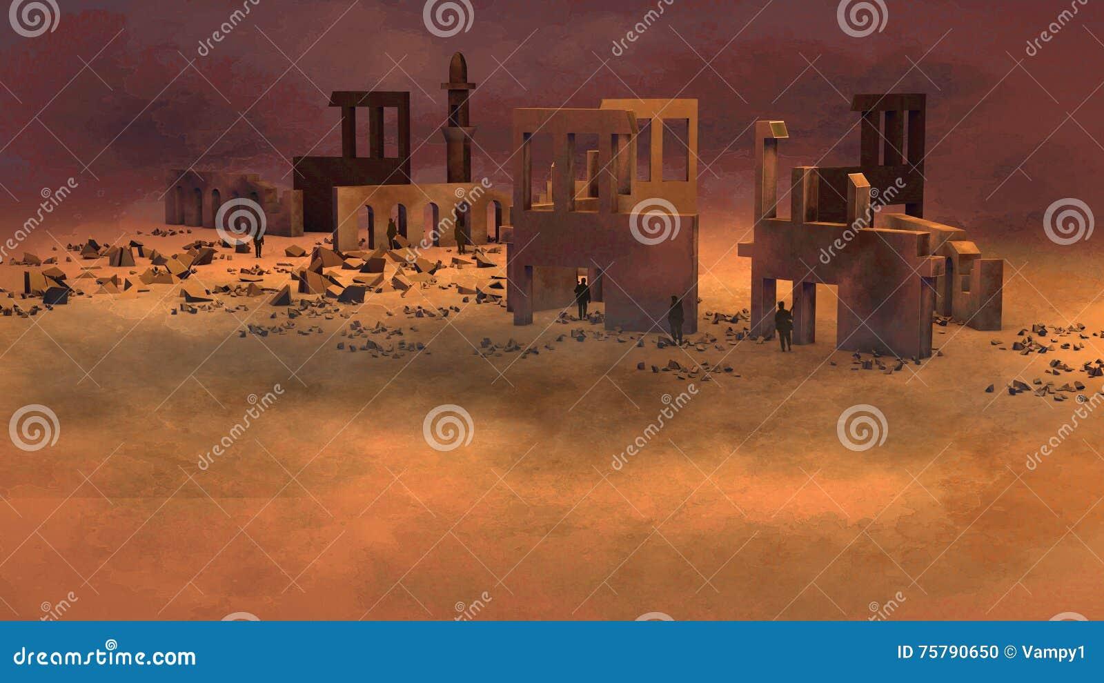 Ruina, zona de guerra con los soldados, edificios, bombardeo, terrorismo