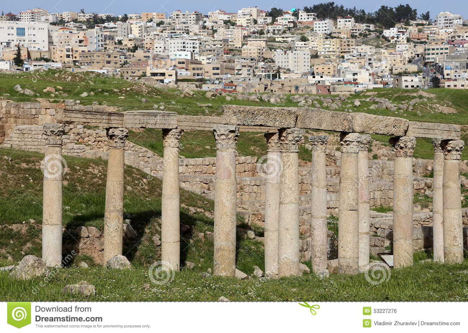 Ruinas romanas en la ciudad jordana de Jerash, Jordania