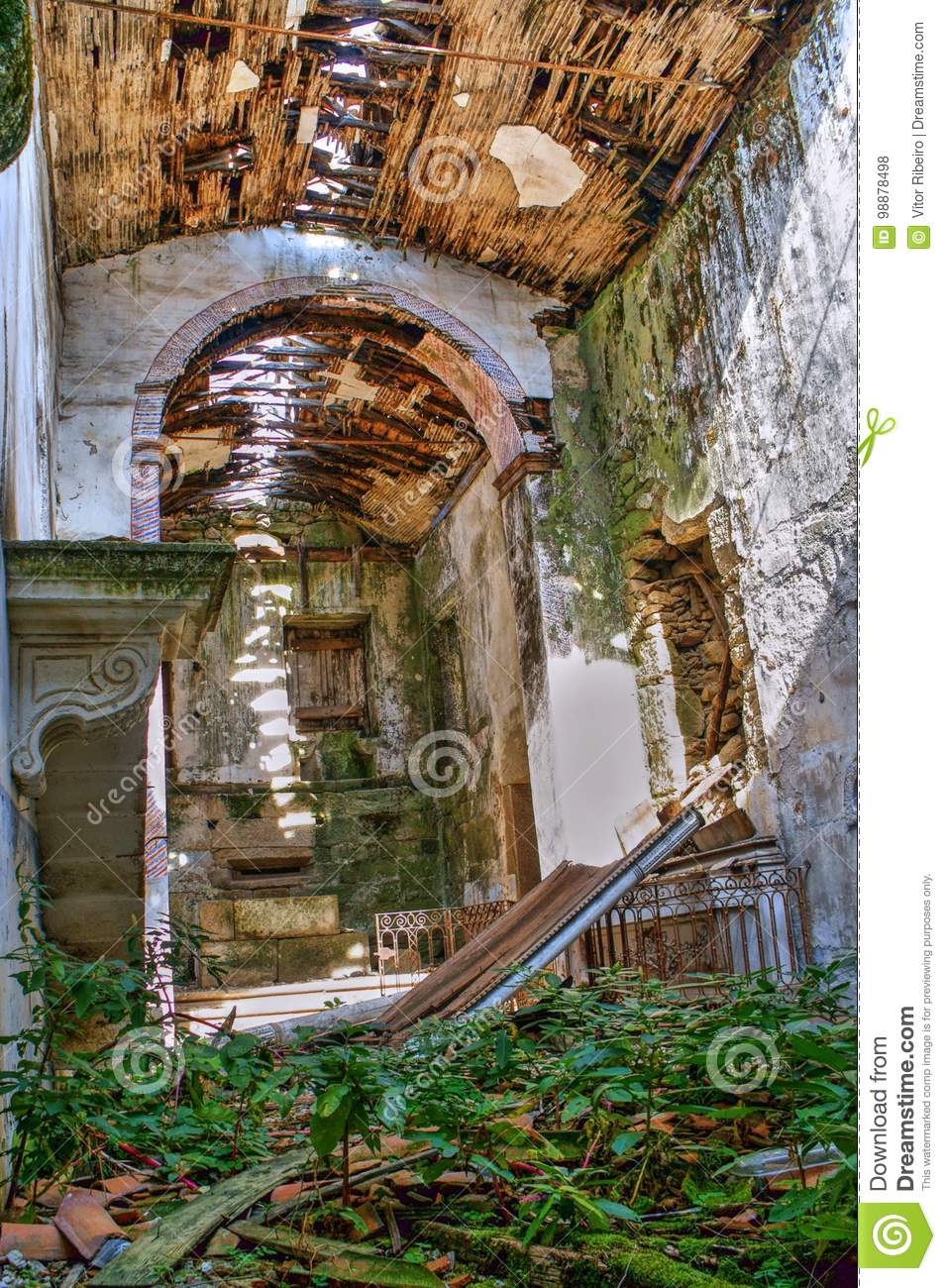 Download Ruined church stock photo. Image of abandoned, indoors - 98878498