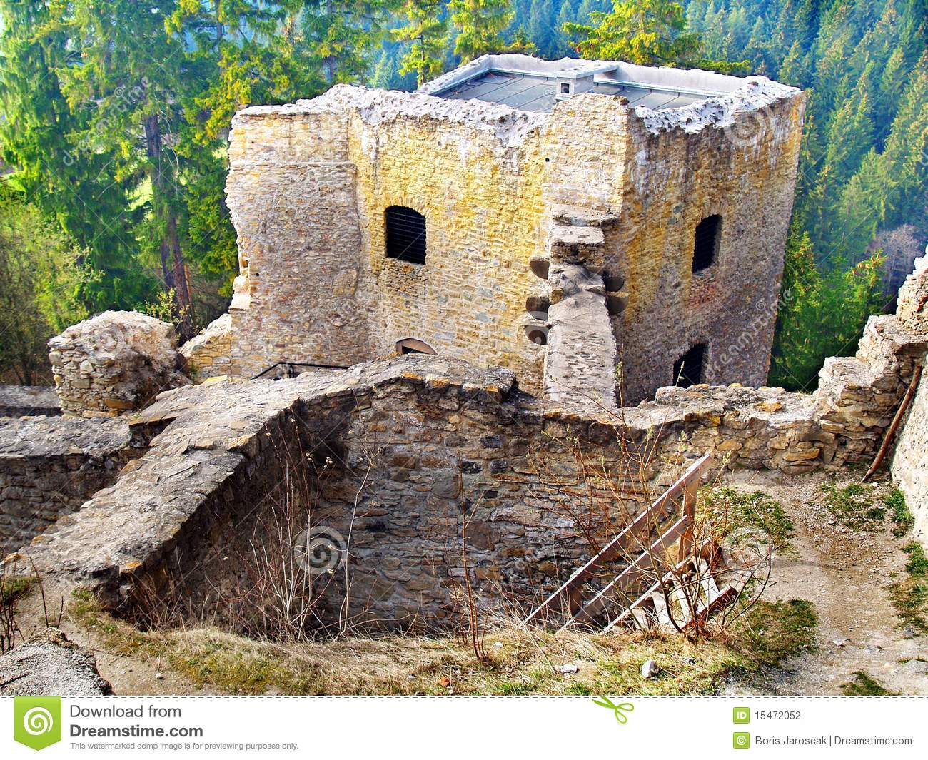 Ruined interior of Likava Castle, Slovakia