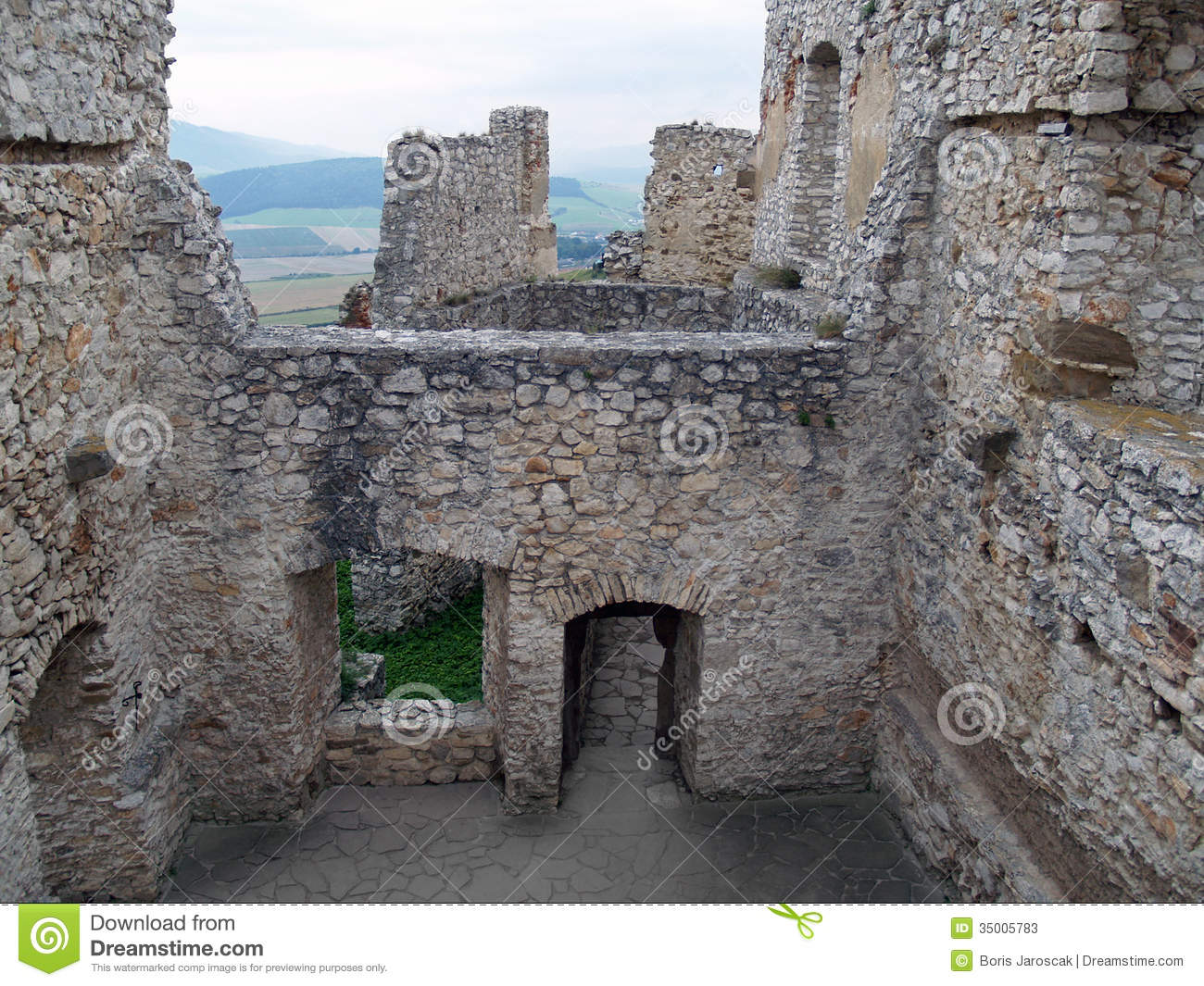 Ruined interior of Spis castle, Slovakia