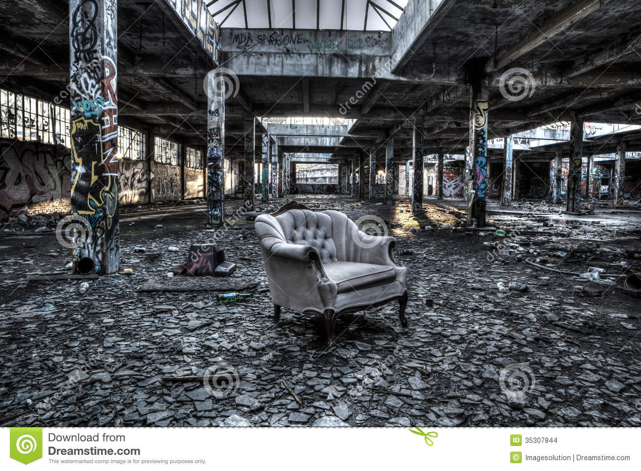 Ruined Warehouse Interior Stock Images Image 35307844