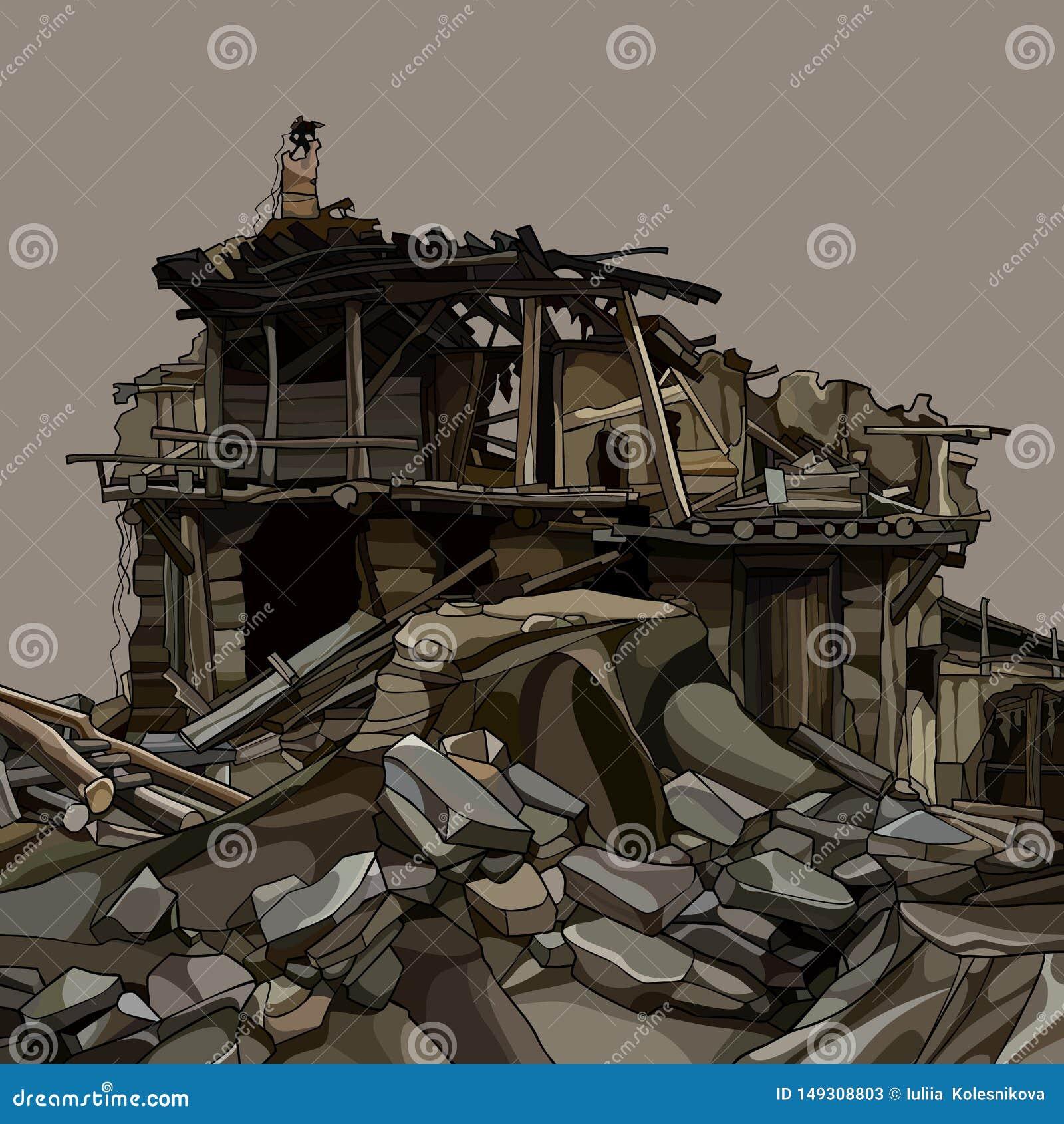 Maison En Ruine Dessin ruines de bande dessin?e d'une maison en bois dans les