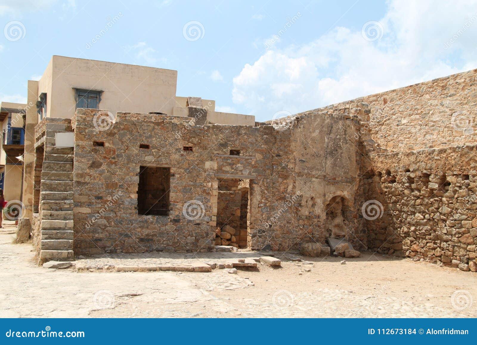 Ruines de Chambre, forteresse de colonie de lépreux de Spinalonga, Elounda, Crète