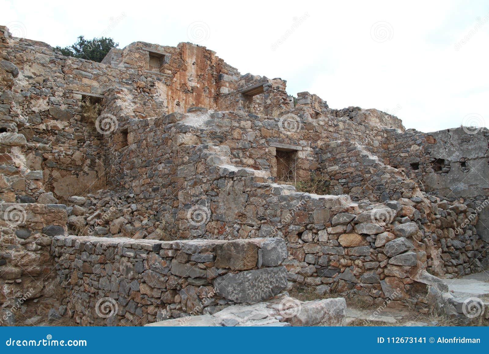 Ruines de Chambres, forteresse de colonie de lépreux de Spinalonga, Elounda, Crète