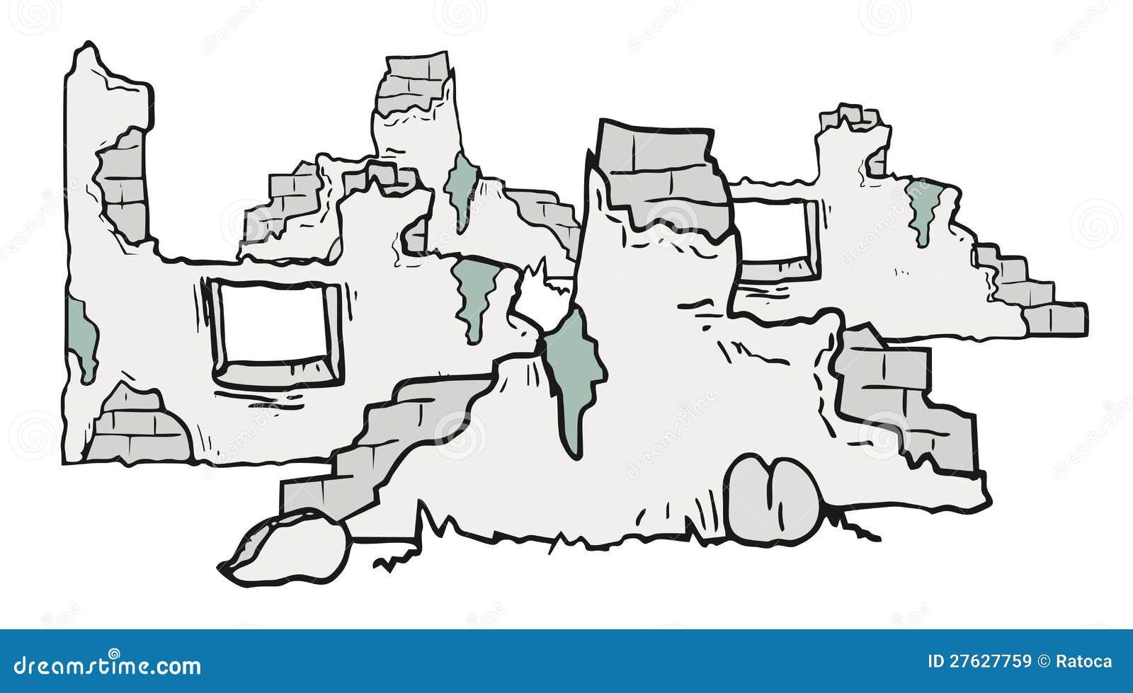 Maison En Ruine Dessin ruines de dessin animé illustration de vecteur. illustration