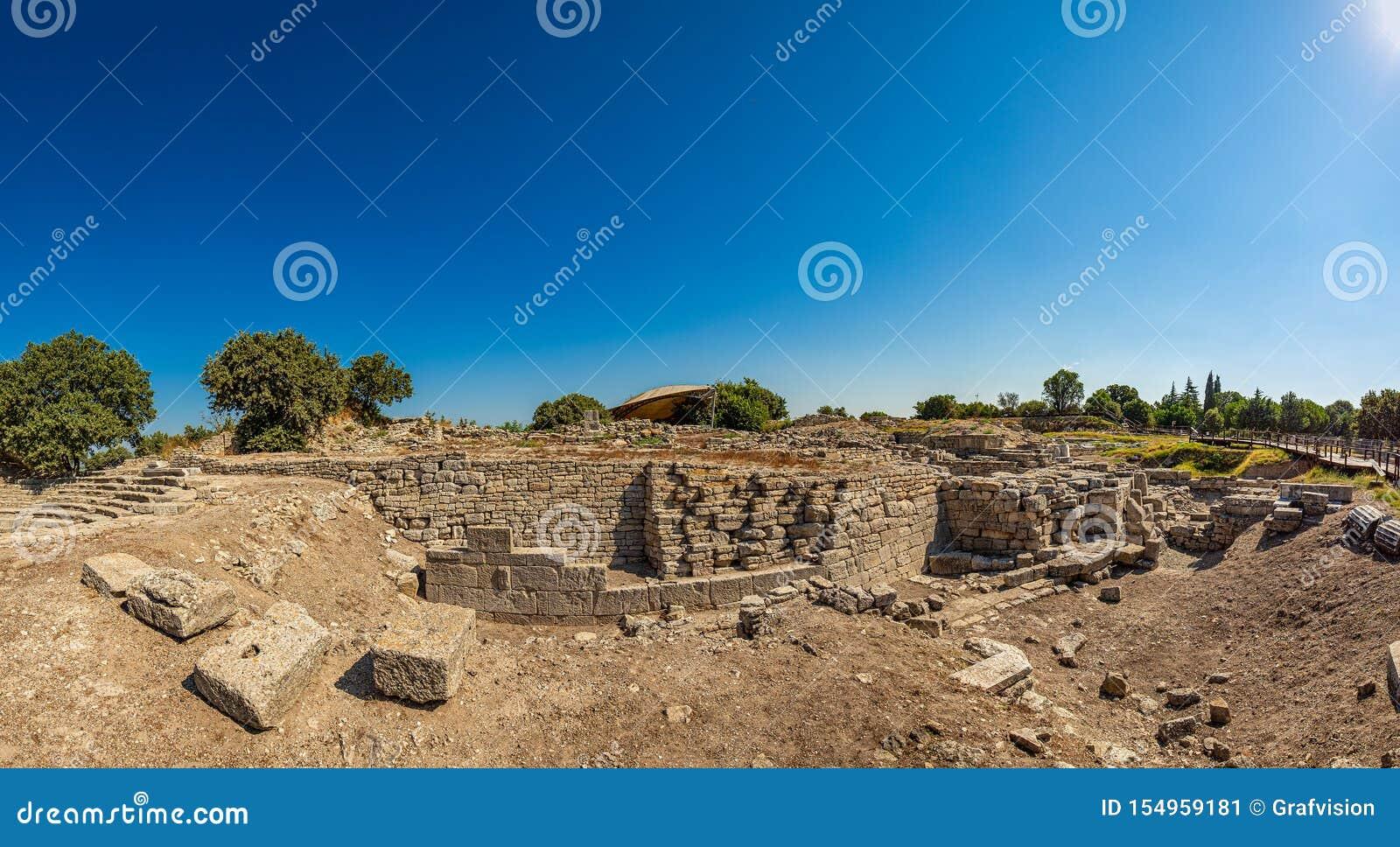 Ruines de ville légendaire antique de Troie