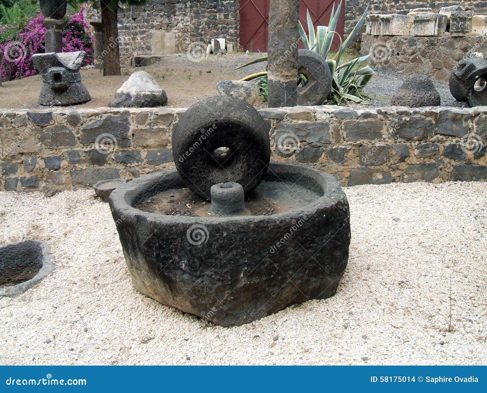moulin olive antique pour presser des olives datant des priodes romaines au jardin dun point de repre en isral