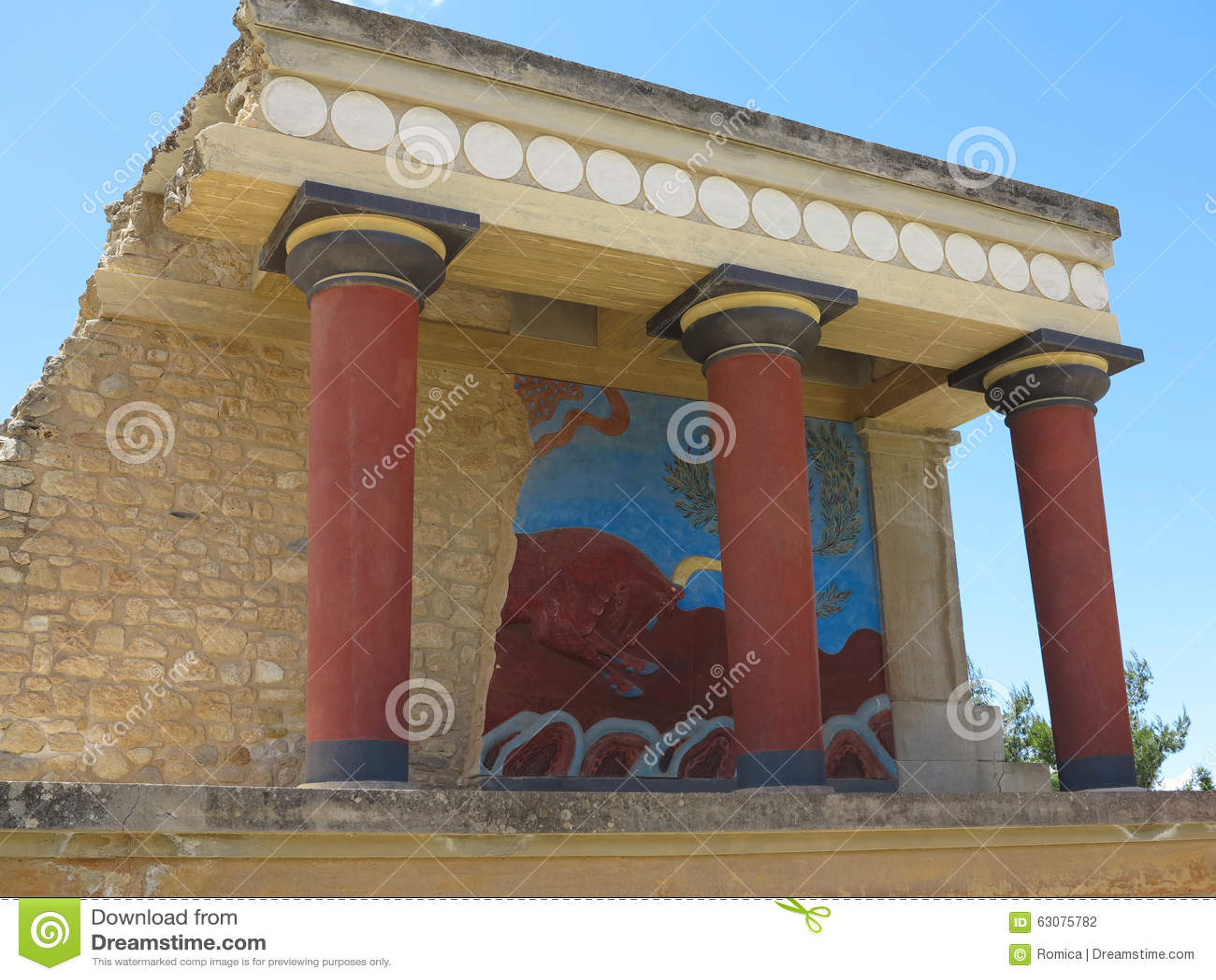 Download Ruines Du Palais De Minoan De Knossos à Héraklion, Grèce Photo stock - Image du monument, labyrinthe: 63075782