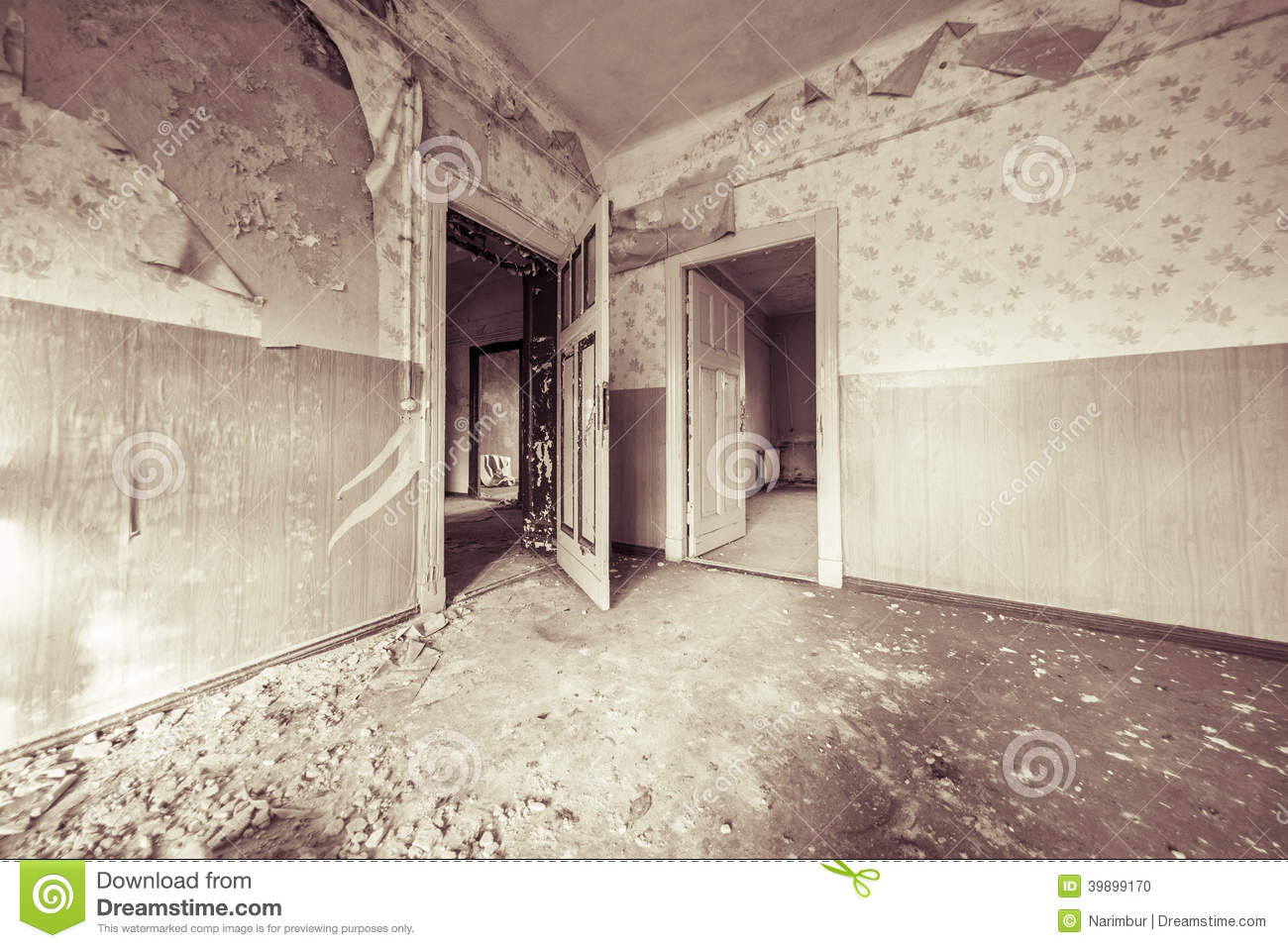 Ruinous Empty Room With Old Wallpapers Stock Photo Image 39899170