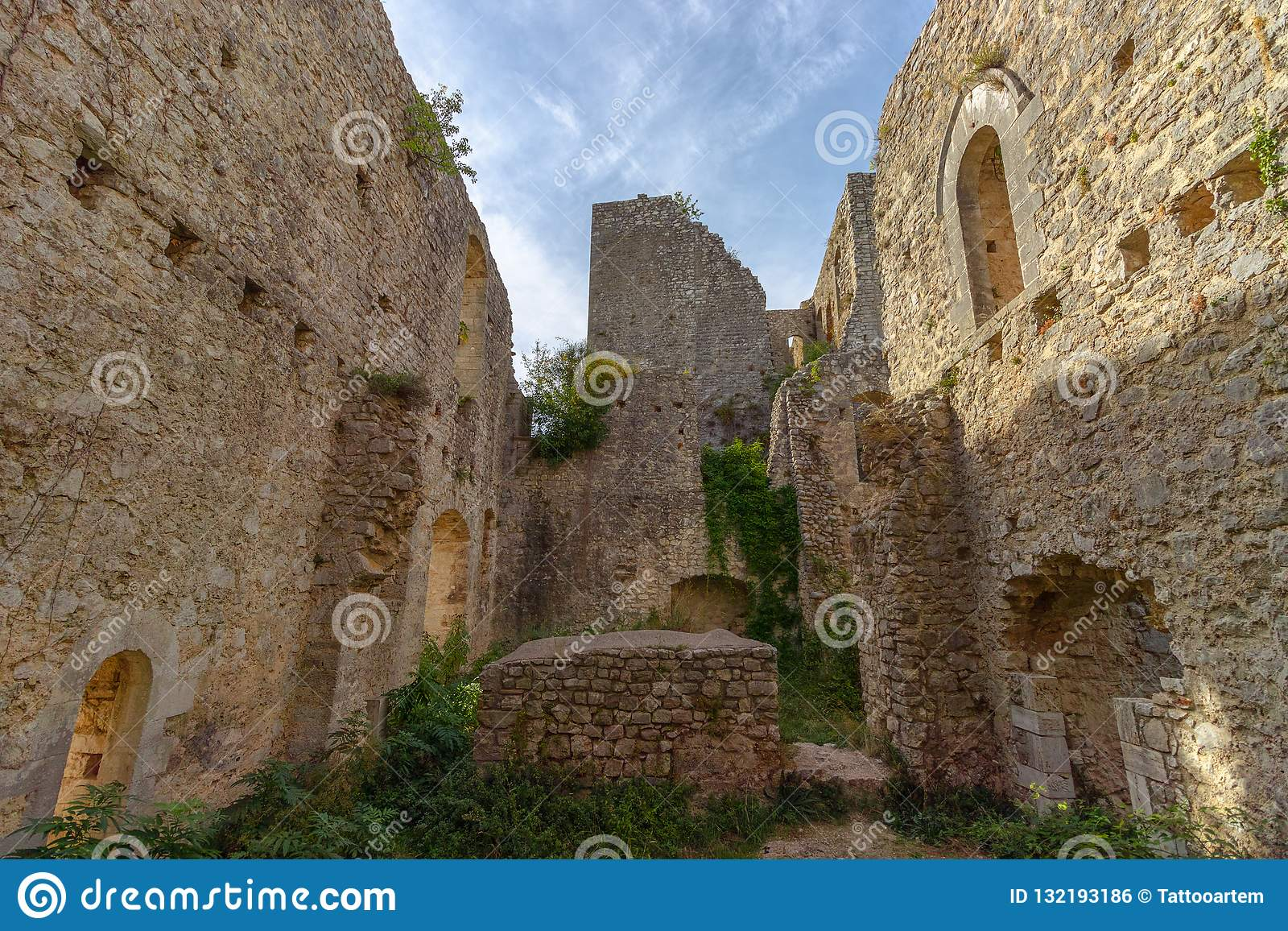 The ruins of the abandoned castle Rocca di Piediluco on the hi