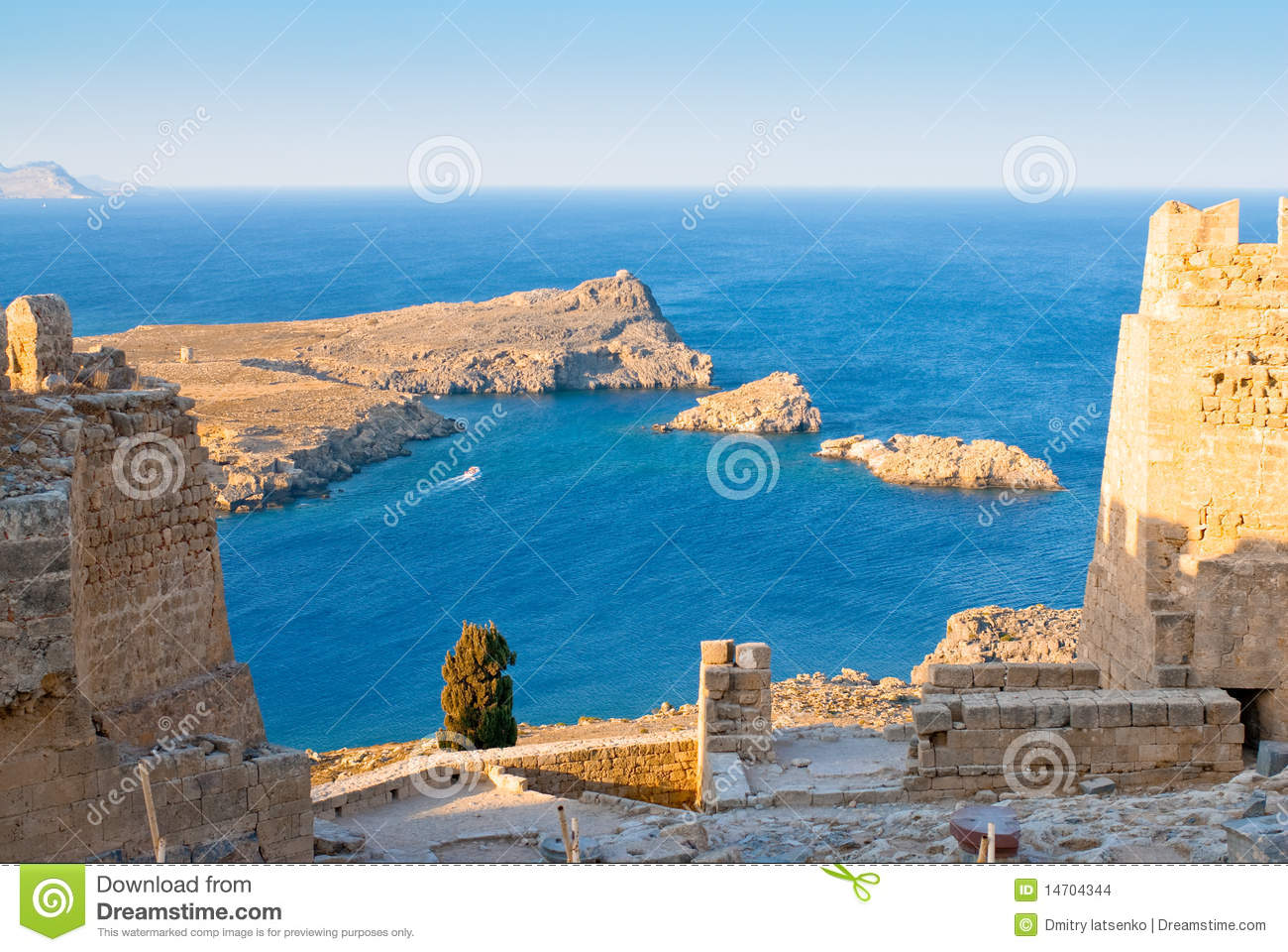 Ruins Of Acropolis In The Rhodes Island Stock Images ...