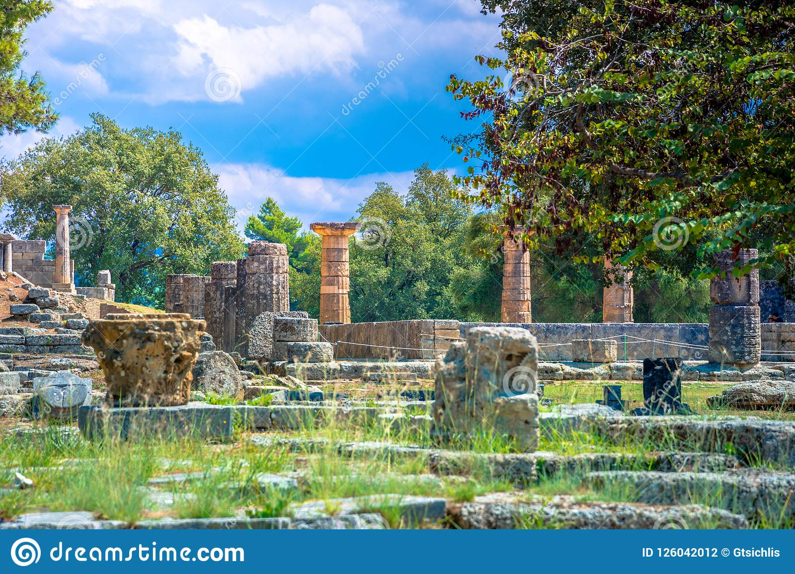 The ruins of ancient Olympia, Greece. Here takes place the touch of olympic flame.