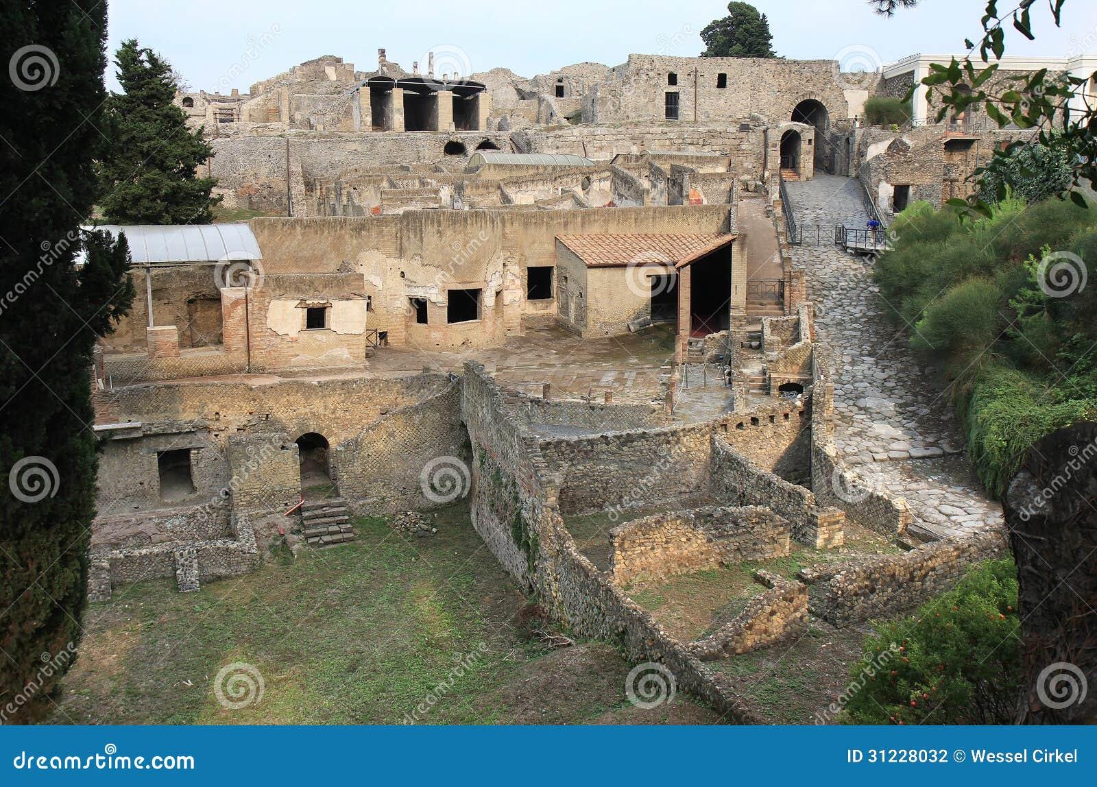 Ruins Of The Ancient Roman Pompei Italy Stock Photo