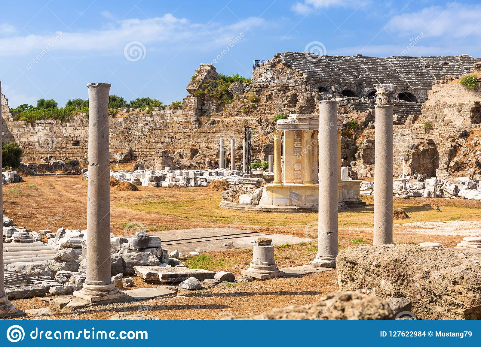 Architecture of ancient Greek ruins in Side,