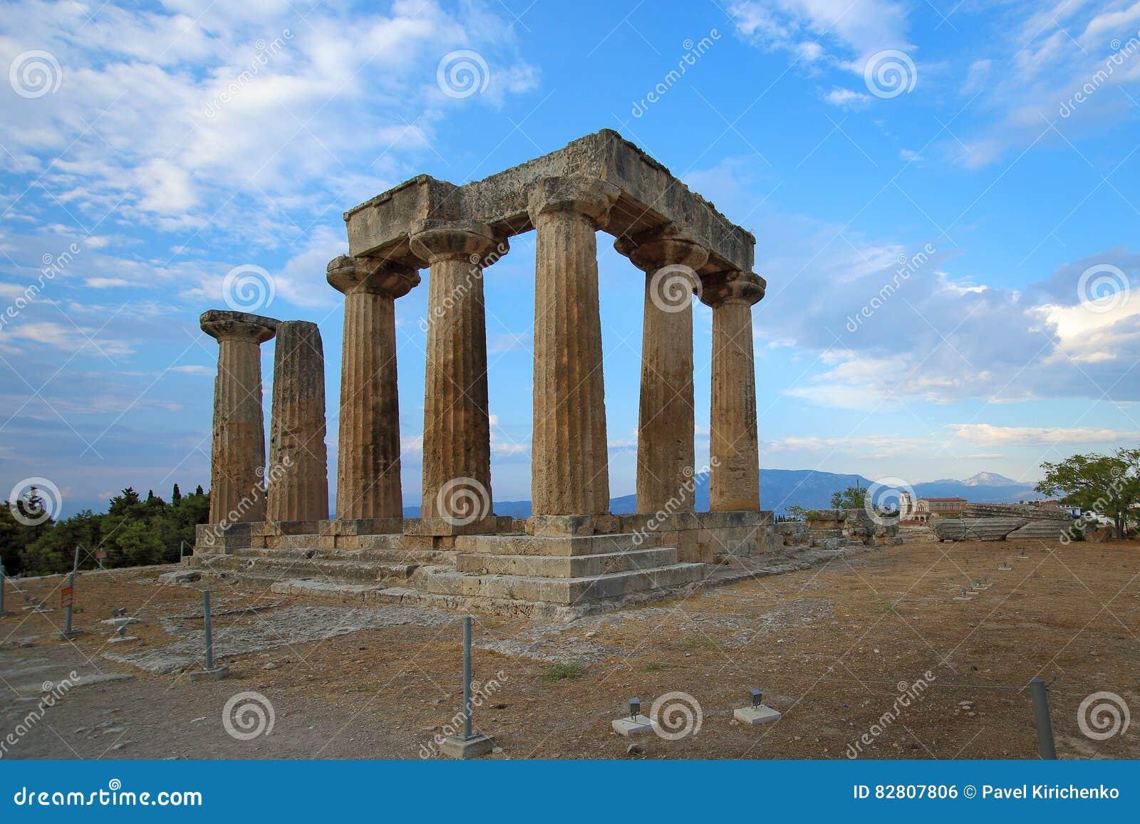 Ruins of Apollo temple of ancient Corinth, Greece