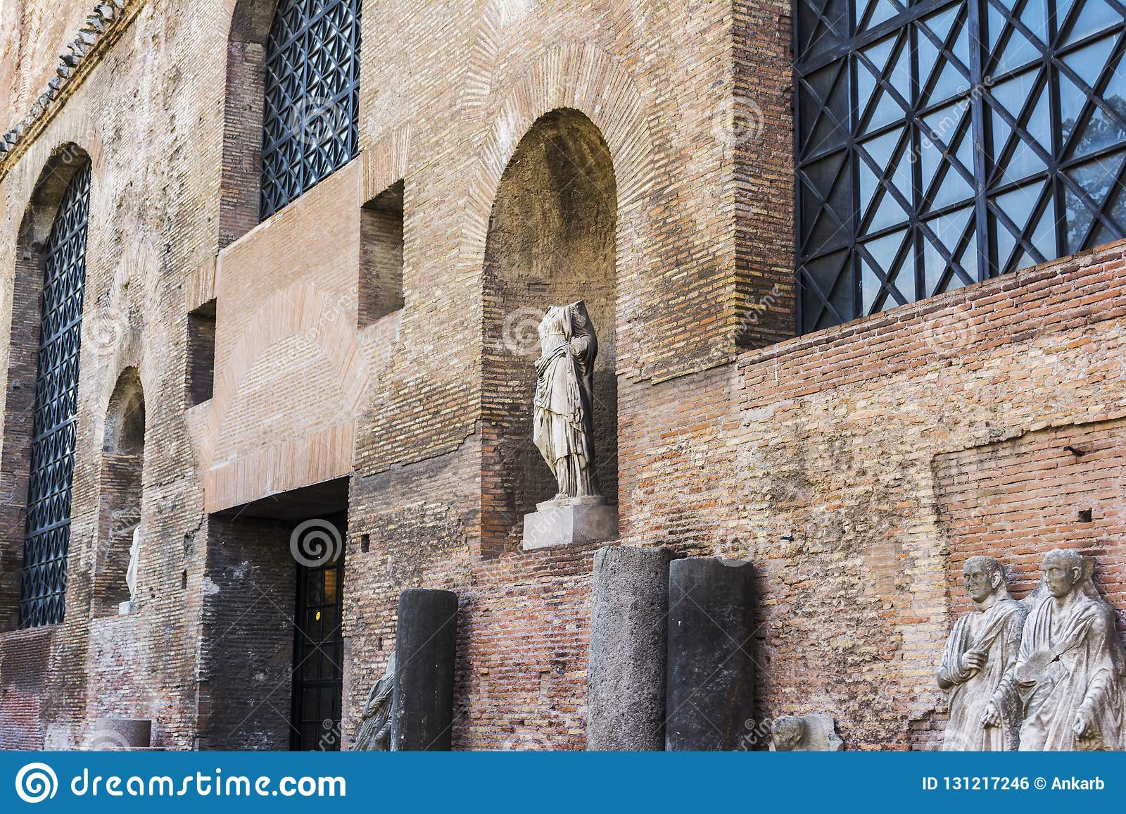 Ruins of the Baths of Diocletian, Rome, Italy. Diocletian`s baths is one of the main landmarks in Rome.