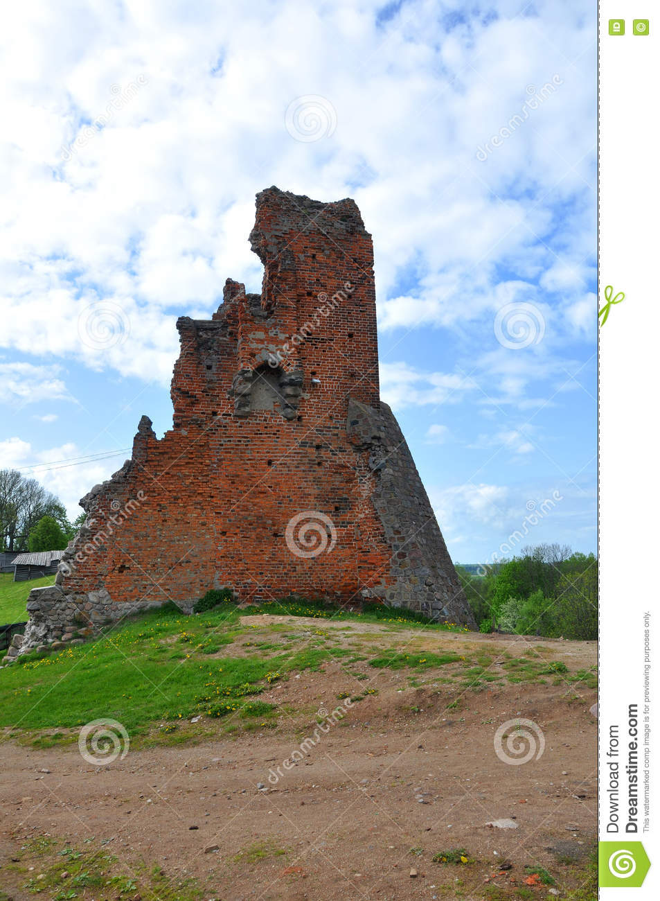 The ruins of the castle in the city of Novogrudok. Belarus.