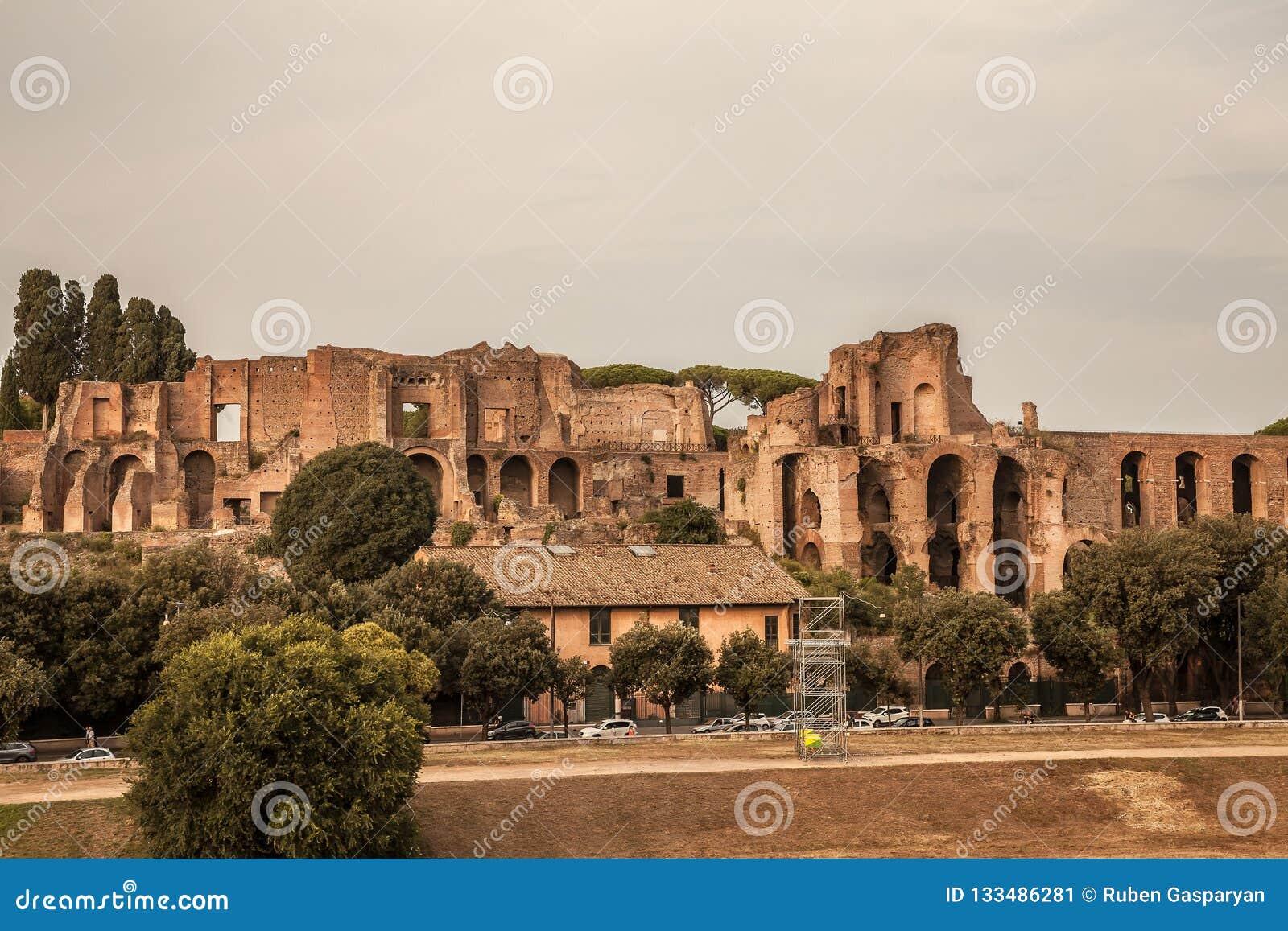 Ruins of Circus Maximus in Rome, Italy