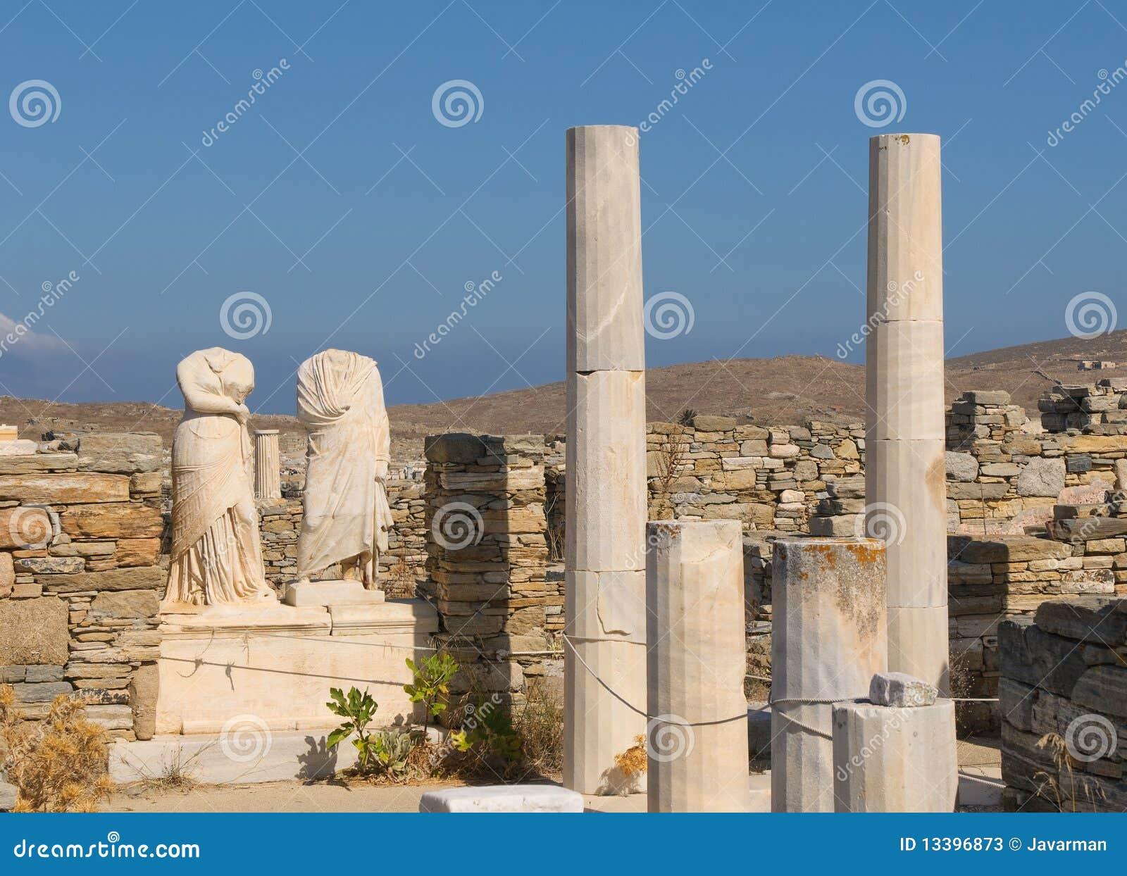 Ruins Of Cleopatra House Delos Greece Stock Photos