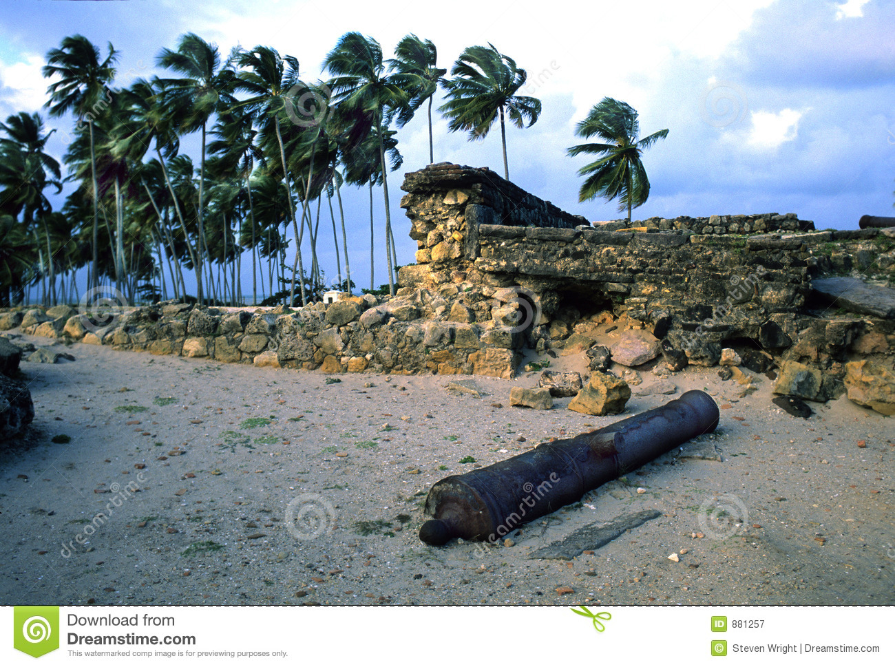 Ruins of Dutch Fort Itamaraca Brazil-some grain