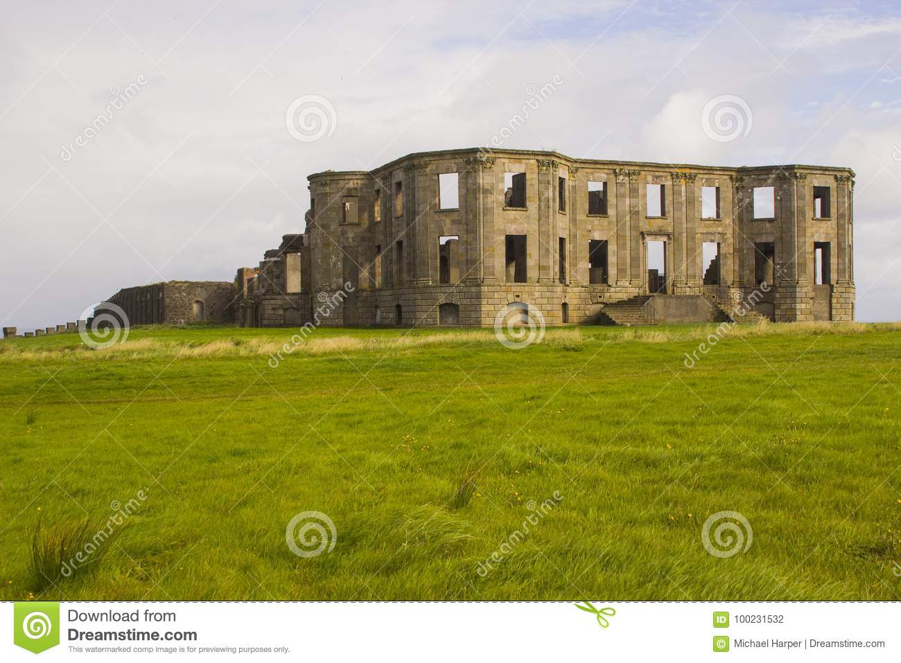 The ruins of the Earl Bishop`s flamboyant house in the grounds of the Downhill Demesne near Coleraine