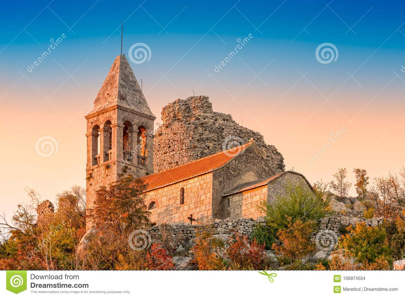 Download Ruins Of Fortress Čačvina And Church All The Saints Stock Photo - Image of autumn, tower: 106974554