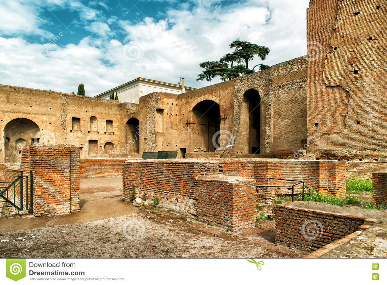 Ruins Of Imperial Palace On Palatine Hill In Rome Stock ...