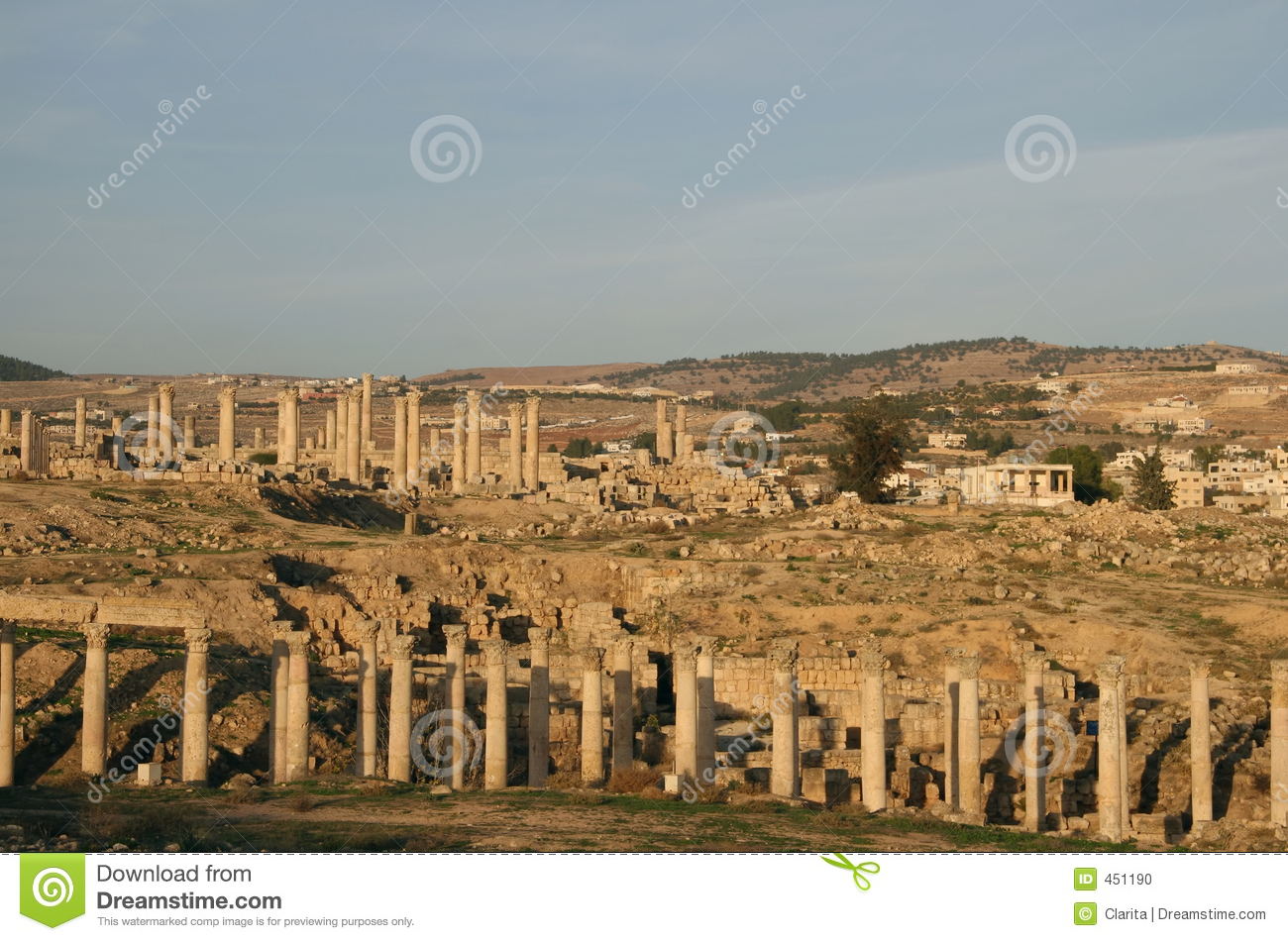 Download Ruins at Jerash, Jordan stock photo. Image of landmark - 451190
