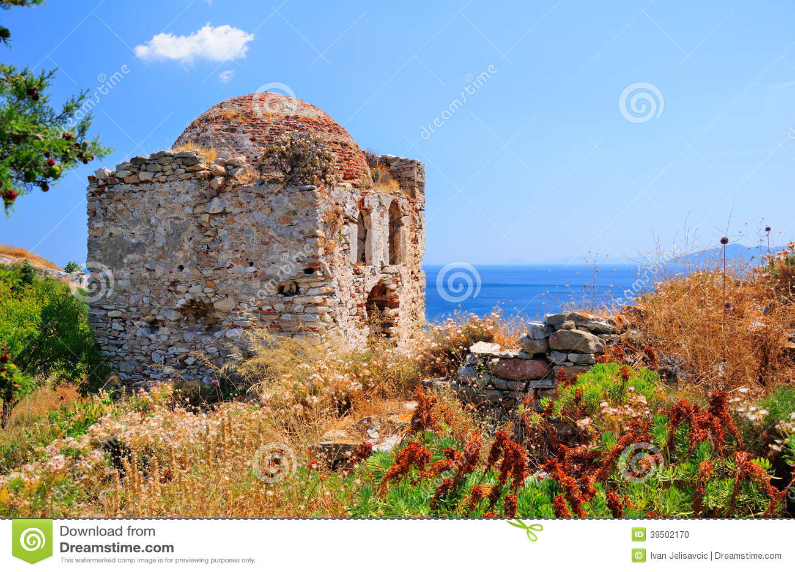 Ruins in Kastro, old metropolis of Skiathos,