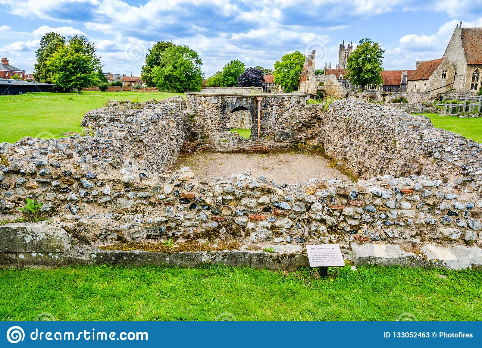 Ruins of Lady Chapel and Crypt at St Augustine's Abbey in Canter