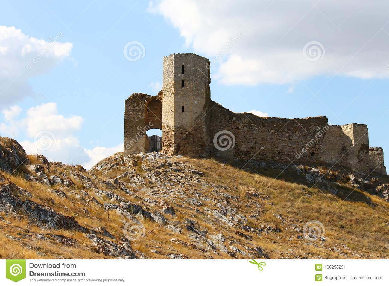 Ruins of Enisala old fortress on rocky hill