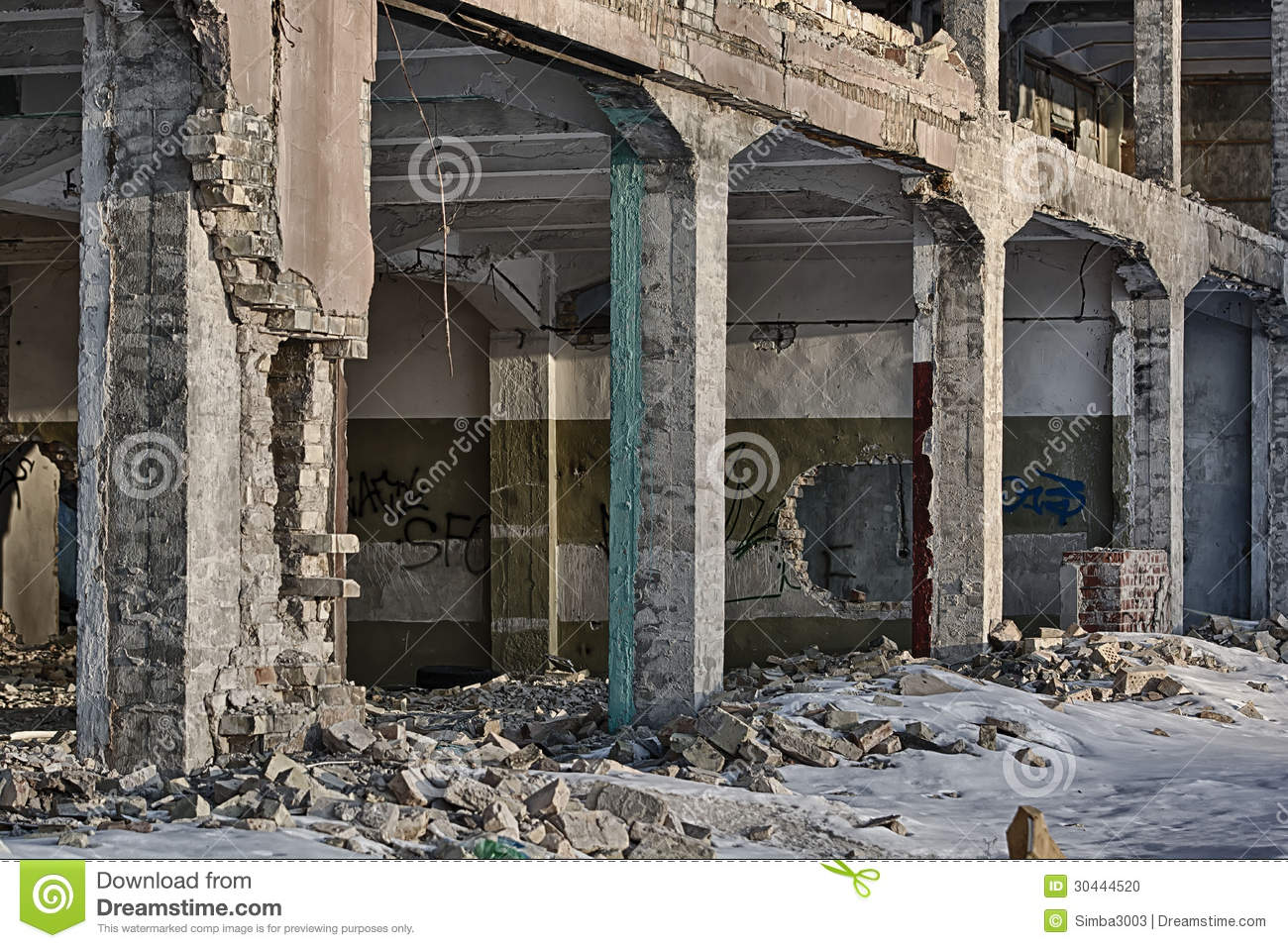 Ruins of modern neglected building background stock photo for Modern building construction