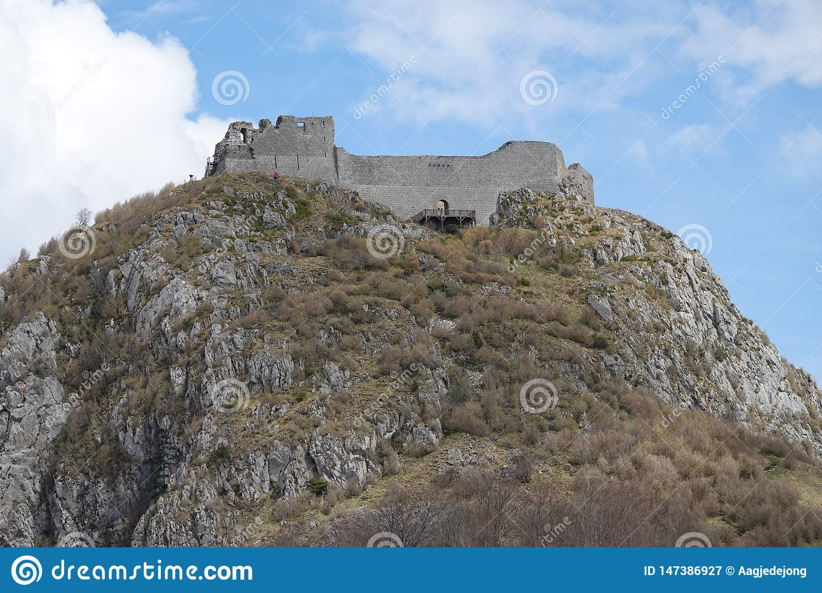 Cathar Castle Of Montsegur In The Pyrenees In France Stock Image ...