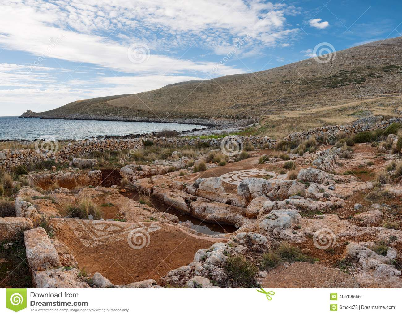 Ruins with mosaic in Cavo Matapan in Mani, Laconia, Peloponnese