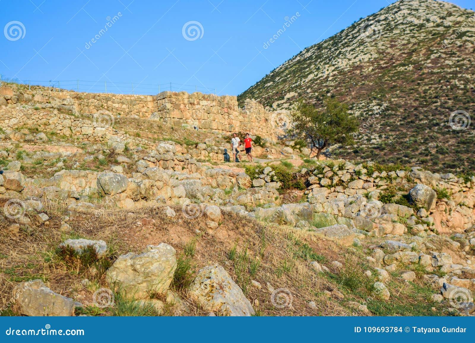 Ruins of Mycenae Citadel, Greece.