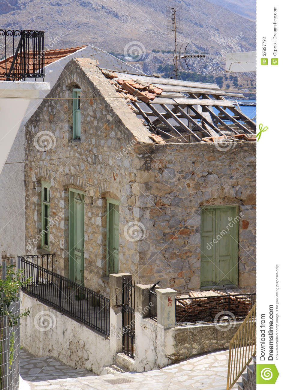 Ruins Of A Old Stone Greek House Stock Photography Image