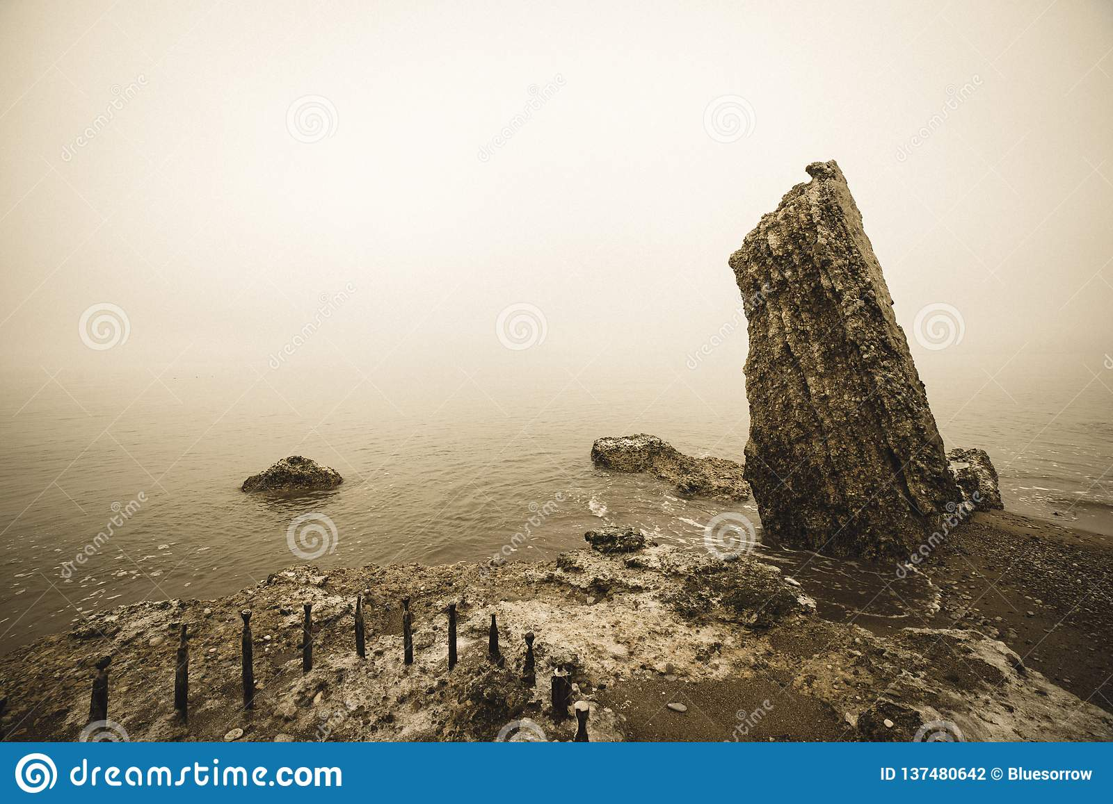 Ruins of old war fort in Liepaja, Latvia - vintage retro look. Ruins of old war fort in Liepaja, Latvia in snowy winter day with overcast clouds. Karosta stock photography