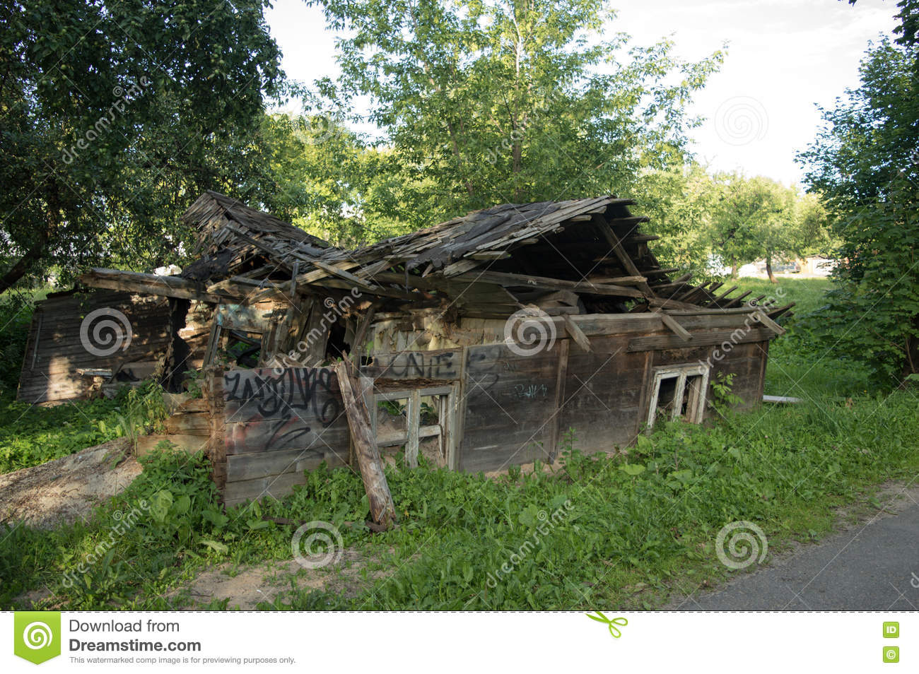 The ruins of the old wooden house