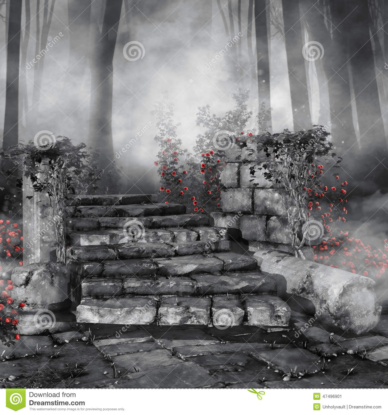 Ruins With Red Roses Stock Illustration Image 47496901