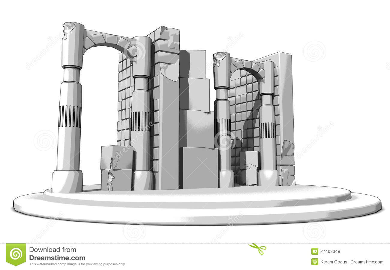 Ruins Sketch stock illustration  Illustration of