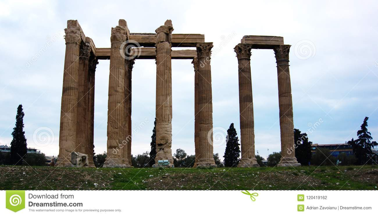 Ruins of the temple of Olympian Zeus in Athens, Greece