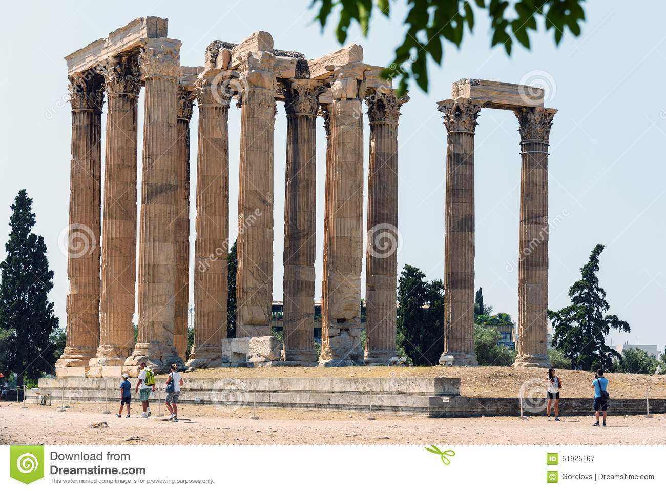 Ruins of Temple of Olympian Zeus in Athens.