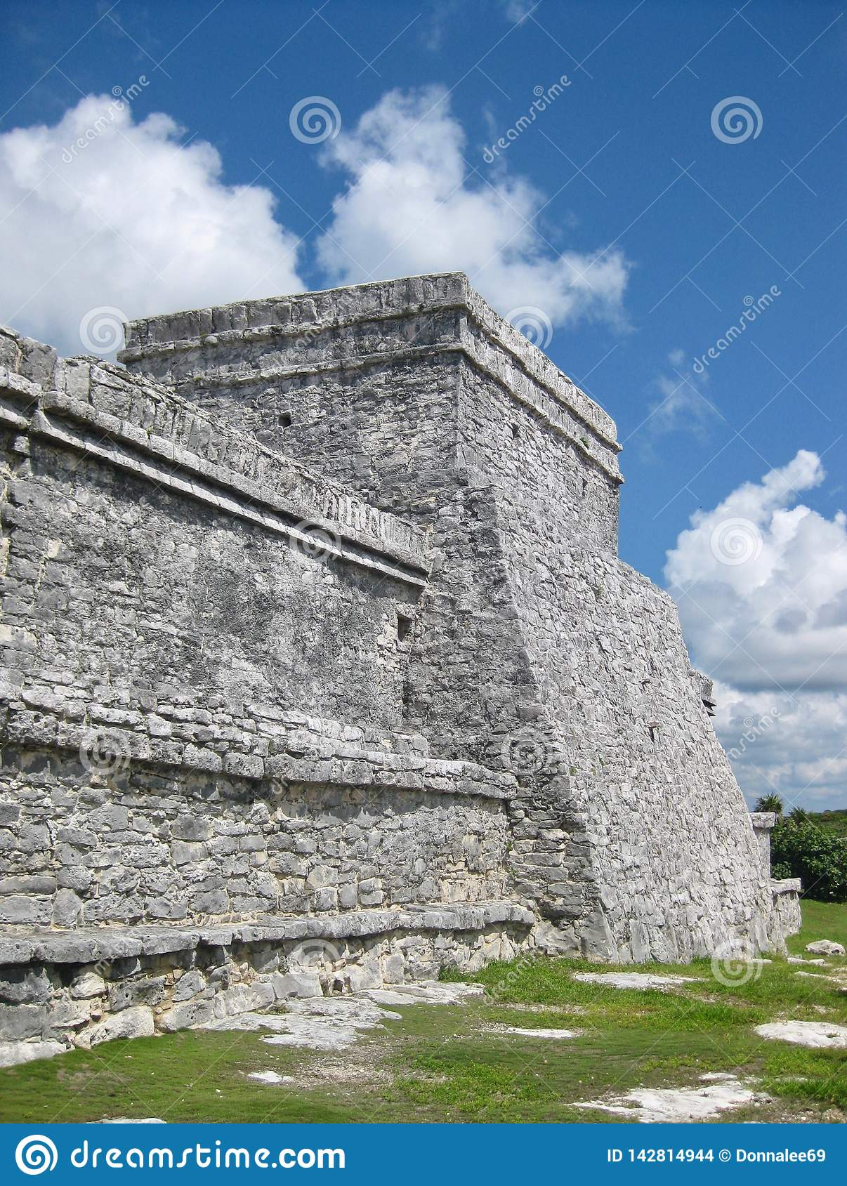 Ruins at Tulum Archaeological Site on Mexico`s Caribbean Coast