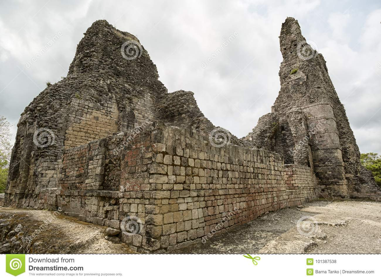 The ruins of Xpujil maya archaeological site in Mexico