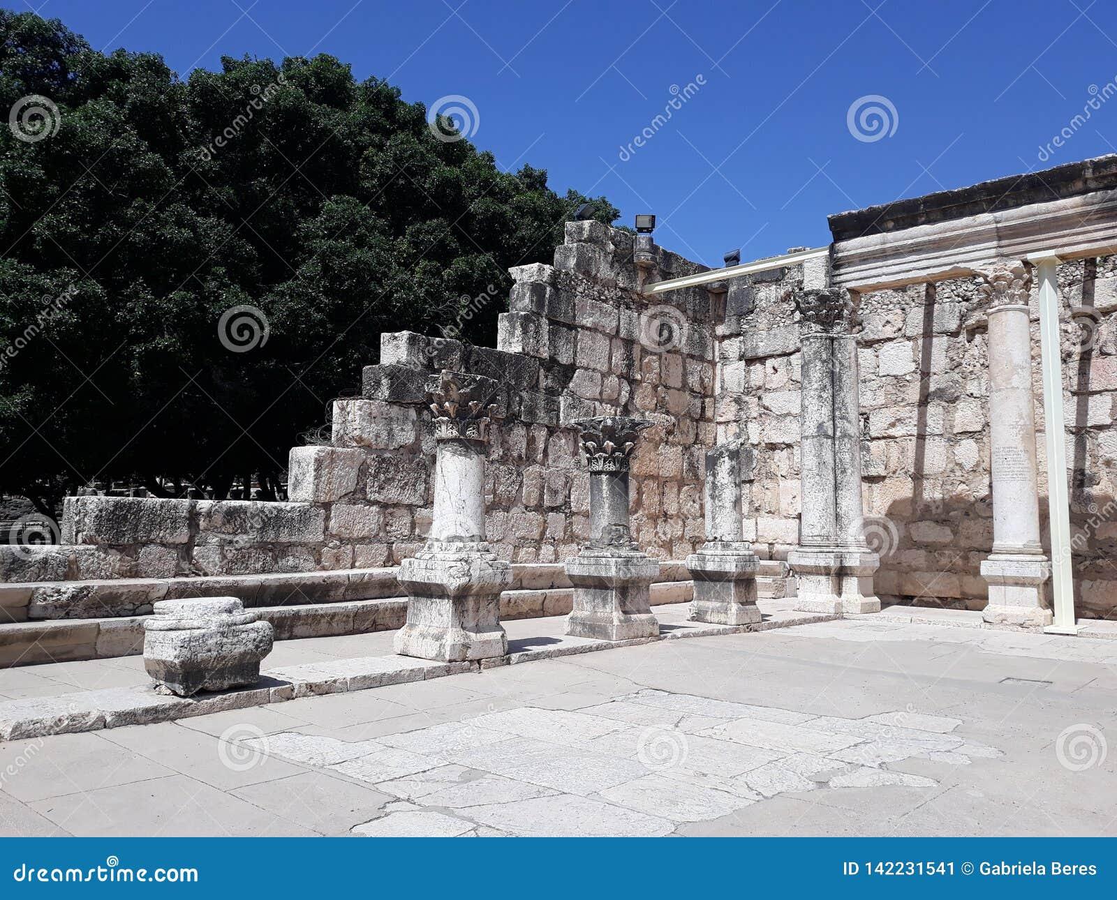 Ruiny antyczna synagoga w Capernaum, Izrael