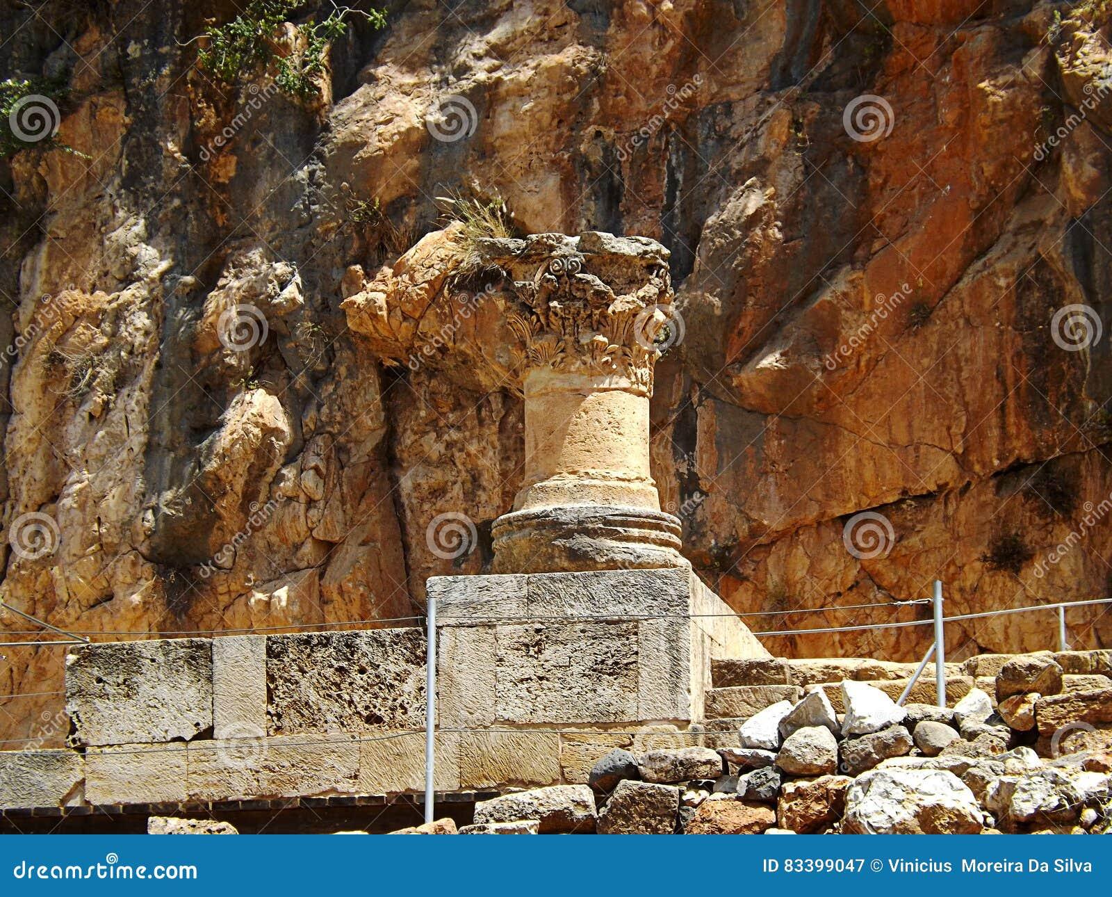 Ruiny Banias świątynie sanktuarium niecka w Izrael