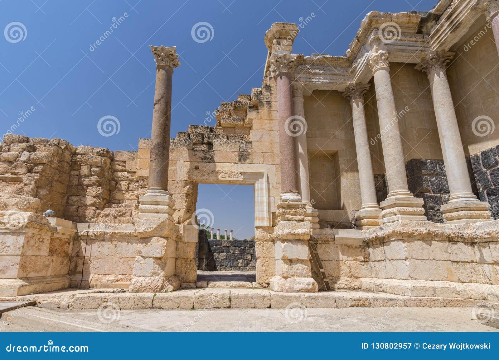 Ruiny Decapolis miasto Scythopolis, zakład Ona «park narodowy, Izrael, Środkowy Wschód