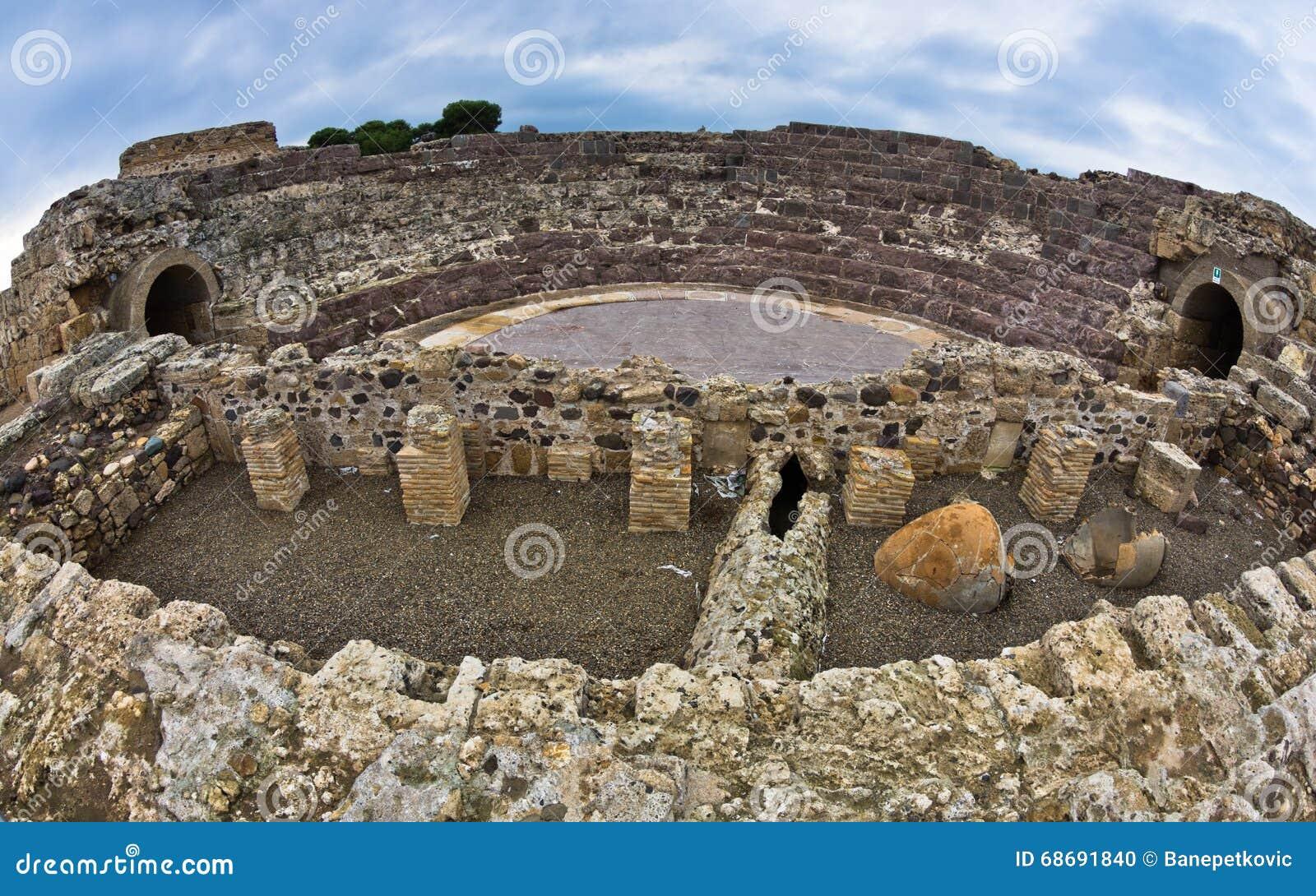 Ruiny stary rzymski miasto Nora, wyspa Sardinia