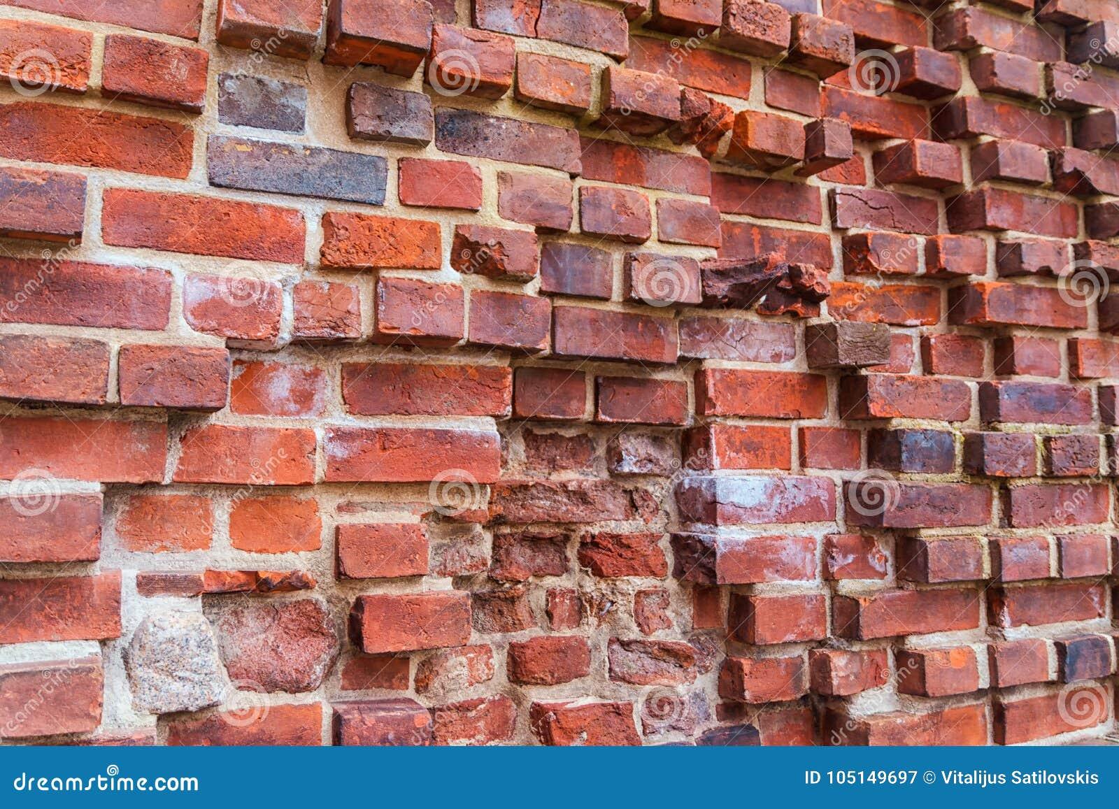 Ruiny stary Teutoński kasztel w Toruńskim, Polska czerwień ceglasta mur tło
